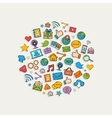Sticker mobile apps set in the form of circle vector image