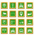 parking set icons set green vector image