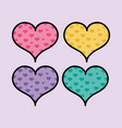 set color hearts shapes to love symbol vector image
