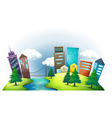 A hill with a river across the tall buildings vector image