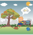 a thoughtful schoolboy sits on a park bench vector image vector image