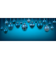 Abstract background with blue christmas balls vector image vector image