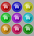Auto icon sign symbol on nine round colourful vector image vector image