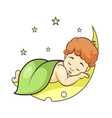 baby sleeping on the moon vector image