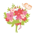 Beautiful bouquet with butterfly vector image vector image