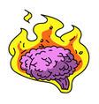 brain on fire cartoon hand drawn image vector image