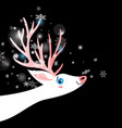 bright winter new year postcard with a white deer vector image vector image