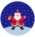 cartoon santa claus with a christmas bell vector image
