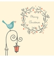 christmas wreath with bird on old street light vector image
