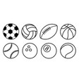 collection black and white sports balls flat vector image