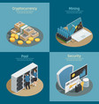 cryptocurrency isometric compositions vector image vector image