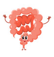 cute and funny smiling healthy bowel intestine vector image vector image