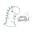 cute dinosaur in love vector image