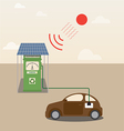 Electric car getting charged at Solar power statio vector image
