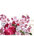 floral background with lilac flowers and roses vector image vector image