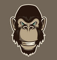 gorilla head mascot in cartoon style vector image