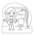 hairdresser coloring page vector image