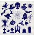 Halloween elements sketch on notebook background vector image vector image