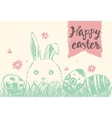 Happy Easter greeting card cute bunny eggs vector image vector image
