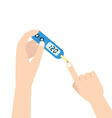 Home glucometer with hand Flat stle vector image