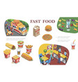 isometric fast food concept vector image vector image