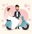 just married couple in motorcycle avatars vector image vector image
