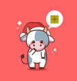 little ox in santa hat with gift box in chat vector image