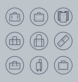Luggage Flat design thin line icons set vector image