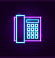 office phone neon label vector image