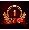 One years anniversary celebration with golden ring vector image vector image