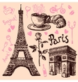 Paris hand drawn symbols set vector image