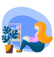 reading girl with book flat vector image vector image