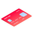 red gradient credit card icon isometric style vector image