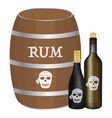 rum barrel and rum bottle vector image