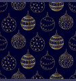 seamless pattern of golden christmas tree ball toy vector image vector image