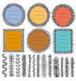 set doodle frames vignettes and dividers vector image
