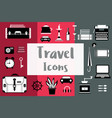 set flat travel icons in a flat style with a vector image vector image