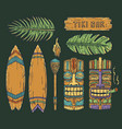 set hawaii tiki mask and surfing ethnic totem vector image vector image