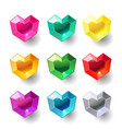 set of cartoon heart different color crystals vector image vector image