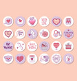 set stickers for valentines day label vector image vector image