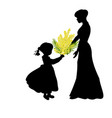 silhouette girl gives mom mimosa mothers day vector image vector image