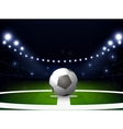 Soccer stadium with ball and spotlight at night vector image vector image