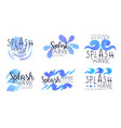 splash wave labels collection watercolor badges vector image
