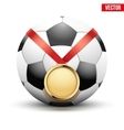 Sport gold medal with ribbon for winning football vector image vector image