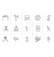 sports and fitness hand drawn outline doodle icon vector image