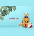 summer travel concept with suitcase sunglasses vector image vector image
