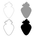 the strawberry the black and grey color set icon vector image vector image