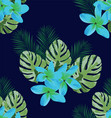 tropical flowers seamless background vector image