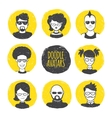 user avatars in trendy hand drawn doodle vector image