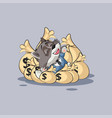 wolf sticker emoticon lies happy on bags of money vector image vector image